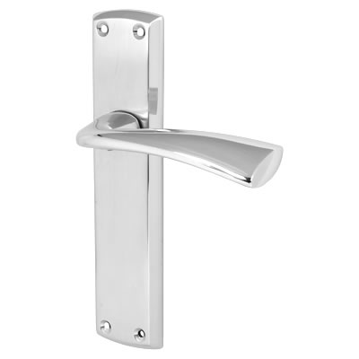Morello Taranto Door Handle - Latch Set - Satin/Polished Chrome)