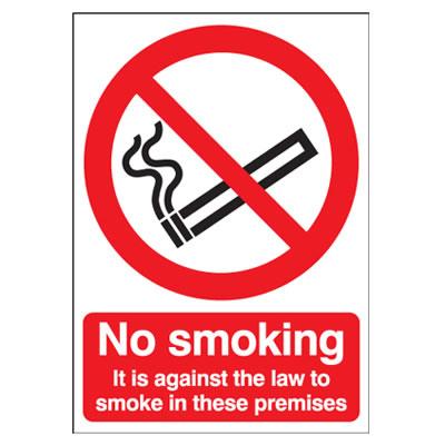 No Smoking It Is Against The Law To Smoke - 210 x 148mm - Rigid Plastic)