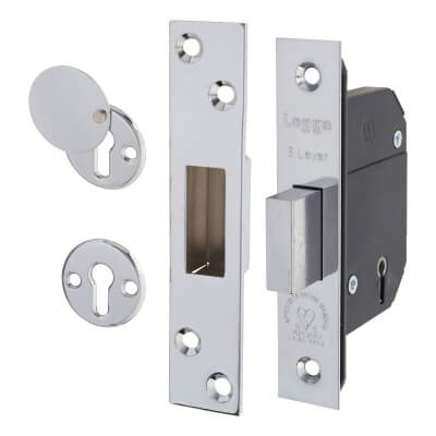 Legge BS3621:2007 5 Lever Deadlock - 68mm Case - 45mm Backset - Stainless Steel