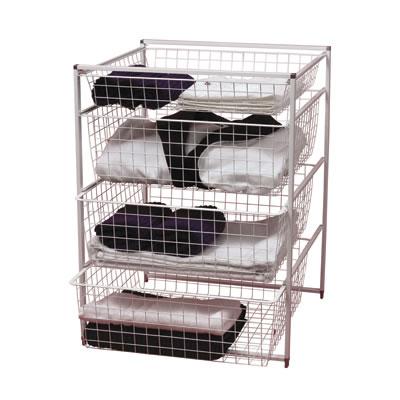elfa® Basket Tower - 1 x Shallow Basket/3 x Medium Baskets - 740 x 550 x 540mm - White