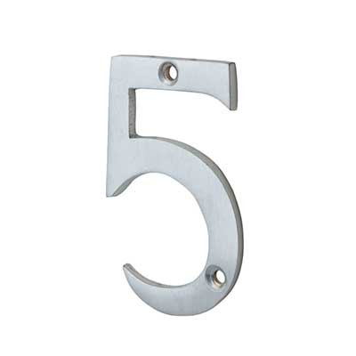 76mm Screw Fixed Numeral - 5 - Satin Chrome