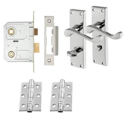 Aglio Victorian Scroll Handle Door Kit - Bathroom Lock Set - Polished Chrome