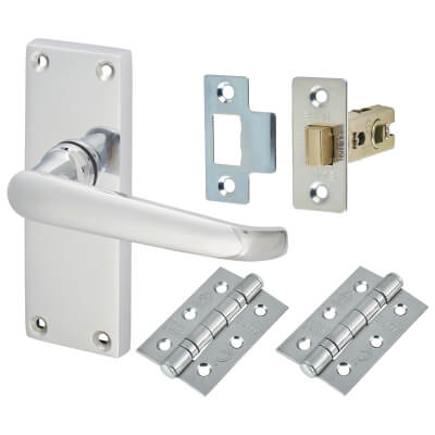 Aglio Victorian Handle Door Kit - Short Latch Set - Polished Chrome