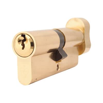 Yale® 1 Star Kitemarked Cylinder Lock - Euro Double & Thumbturn - 40[k]* + 40mm - Polished Bras