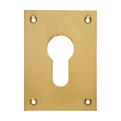 Jumbo Escutcheon - 65.5 x 47.6mm - Euro - Polished Brass