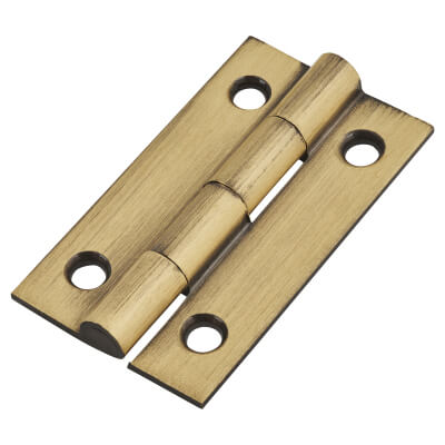 Solid Drawn Hinge - 38 x 22 x 1.45mm - Antique Brass
