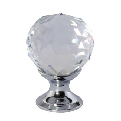 Aglio Cut Glass Cabinet Knob - 25mm - Polished Chrome