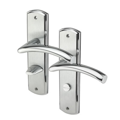M Marcus Centaur Door Handle - Bathroom Set - Satin/Polished Chrome