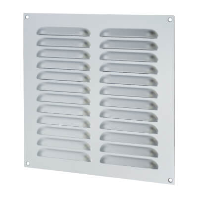 Hooded Louvre Vent - 229 x 229mm - 11919mm2 Free Air Flow - Satin Aluminium