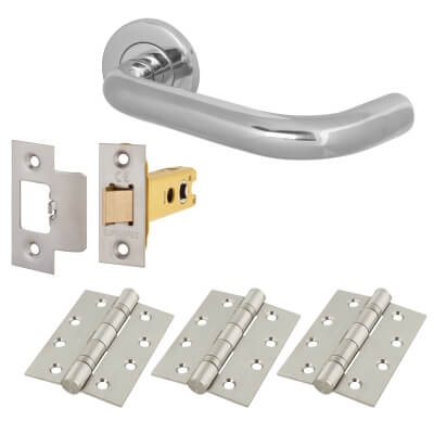 Altro 16mm Extended Return to Door Handle on Rose - Door Kit - 304 Polished Stainless Steel