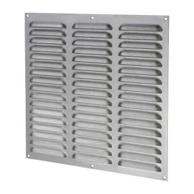 Hooded Louvre Vent - 305 x 305mm - 23750mm2 Free Air Flow - Satin Stainless)