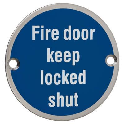 Fire Door Keep Locked Shut - 75mm - Polished Stainless Steel