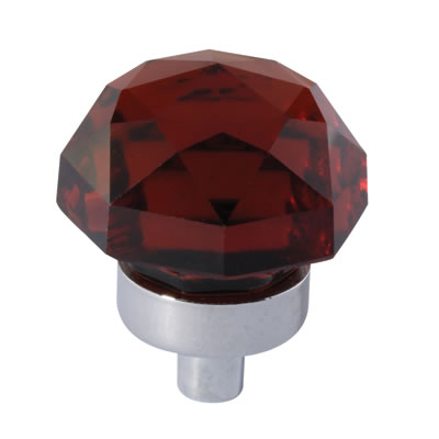Aglio Floral Coloured Glass Cabinet Knob - 25mm - Polished Chrome/Tawney