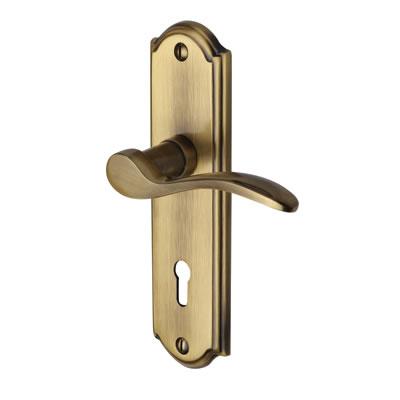 M Marcus Howard Door Handle - Keyhole Lock Set - Antique Brass