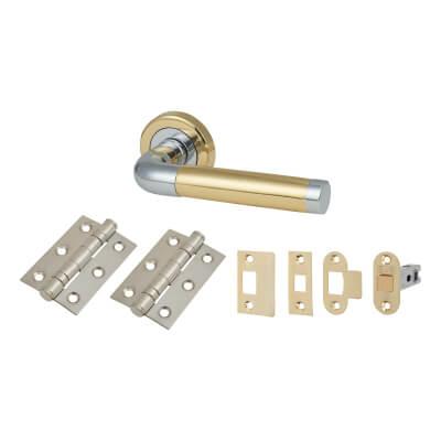 Morello Westminster Lever Door Handles on Rose - Door Kit - Polished Brass/Chrome
