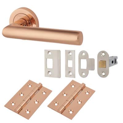 Emily Lever Door Handle on Rose - Door Kit - Polished Copper)