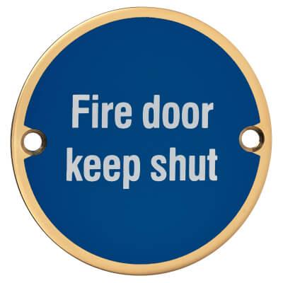 Fire Door Keep Shut - 75mm - Polished Brass)