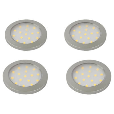 Sensio Pinto LED Under Cabinet Spotlight - Round - Cool White - Includes Driver - Pack 4)
