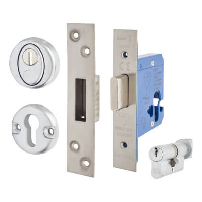 A-Spec BS8621 Euro Deadlock & Thumbturn - 65mm Case - 44mm Backset - Satin Stainless)