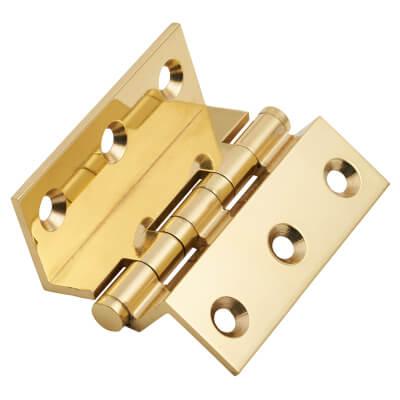 Cranked Ball Bearing Hinge - 64 x 2.5mm - Polished Brass - Pair