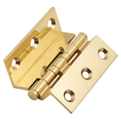 Cranked Ball Bearing Hinge - 64 x 2.5mm - Polished Brass - Pair