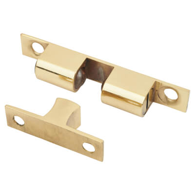 Veel-2 Double Ball Roller Catch - 70 x 12mm - Polished Brass - Pack 5