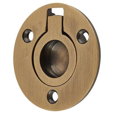 Round Flush Ring Pull - 38mm - Antique Brass