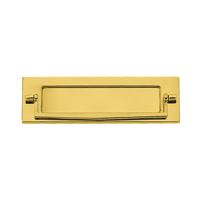 Victorian Plain Edge Postal Knocker - 254 x 78mm - Polished Brass)
