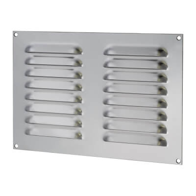 Hooded Louvre Vent - 242 x 165mm - 6600mm2 Free Air Flow - Polished Stainless