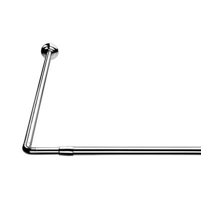 Croydex Shower Rail - L Shaped - Telescopic Rod - 1400-2600mm - Chrome