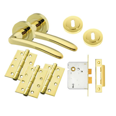 Touchpoint Eloise Lever Door Handle on Rose Kit - 3 Lever Sashlock - Polished Brass