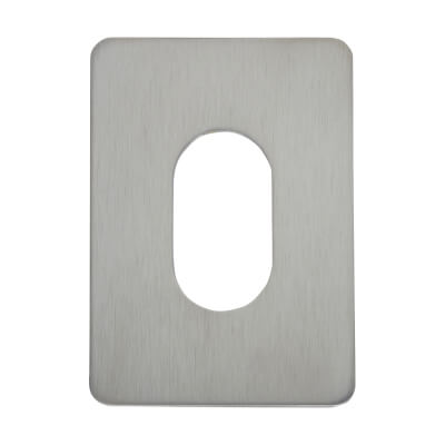 Jumbo Adhesive Fixing Escutcheon - 65.5 x 47.6mm - Oval - Satin Chrome
