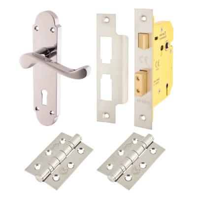 Aglio Victorian Summer Door Handle Kit - 5 Lever Sashlock - Polished Chrome