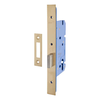 A-Spec Architectural DIN Euro Deadlock - 85mm Case - 60mm Backset - PVD Brass