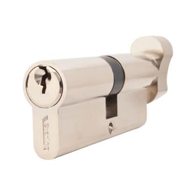 5 Pin Cylinder - Euro Thumbturn - Length 75mm - 35[k]* + 40mm - Nickel)