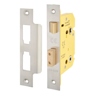 Altro Bathroom Lock - 78mm Case - 57mm Backset - Satin Stainless)