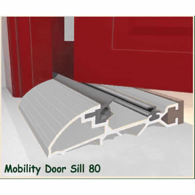 Exitex Mobility Threshold with Ramp - 2000mm - Inward Opening Doors - Mill Aluminium