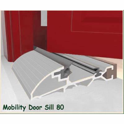 Exitex Mobility Threshold with Ramp - 2000mm - Inward Opening Doors - Mill Aluminium