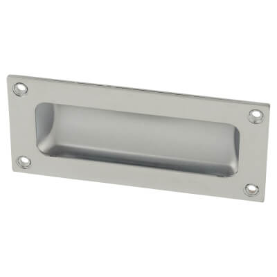 Rectangular Flush Aluminium Door Pull - 102 x 45mm - Polished Chrome)