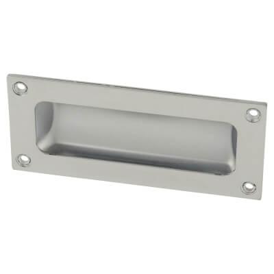 Rectangular Flush Aluminium Door Pull - 102 x 45mm - Polished Chrome