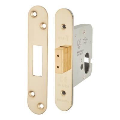 A-Spec Architectural Oval Deadlock - 78mm Case - 57mm Backset - Radius - PVD Brass