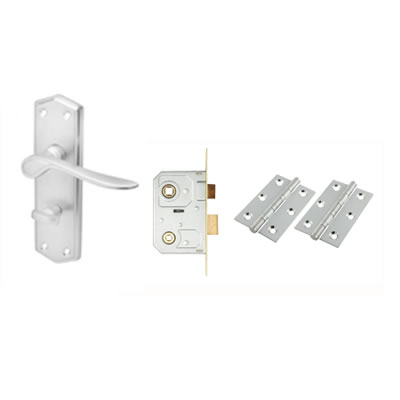 Aglio Rome Door Kit - Bathroom lockset - Satin Chrome