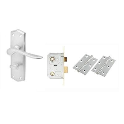 Aglio Rome Door Kit - Bathroom lockset - Satin Chrome