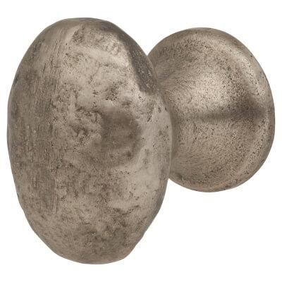 FingerTip Design Hammered Oval Cabinet Knob - 29 x 37mm - Pewter Effect