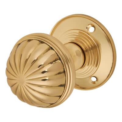 Fluted Mortice Door Knob - Polished Brass