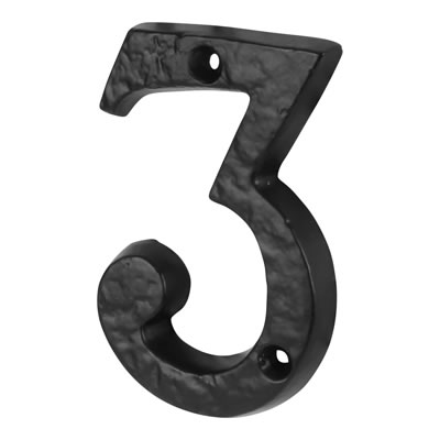 Elden 76mm Numeral - 3 - Antique Black Iron