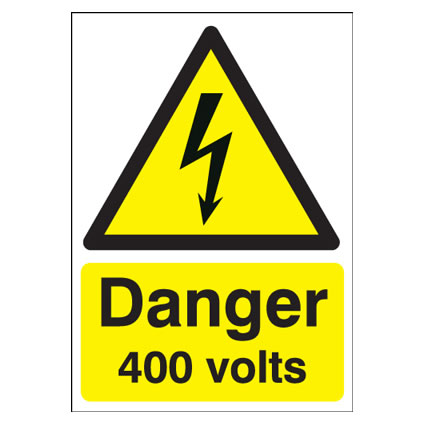 Danger 400 Volts - 210 x 148mm