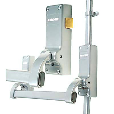 Arrone® Rebated Double Door Panic Bar Set - Silver)