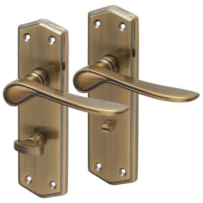 Aglio Rome Door Handle - Bathroom Set - Antique Brass
