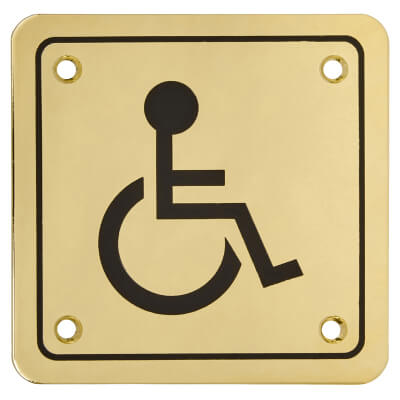 Disabled Square Toilet Door Sign - 100 x 100mm - Brass Plated)
